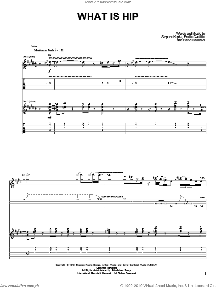 What Is Hip sheet music for guitar (tablature) by Stephen Kupka, Tower Of Power, David Garibaldi and Emilio Castillo. Score Image Preview.