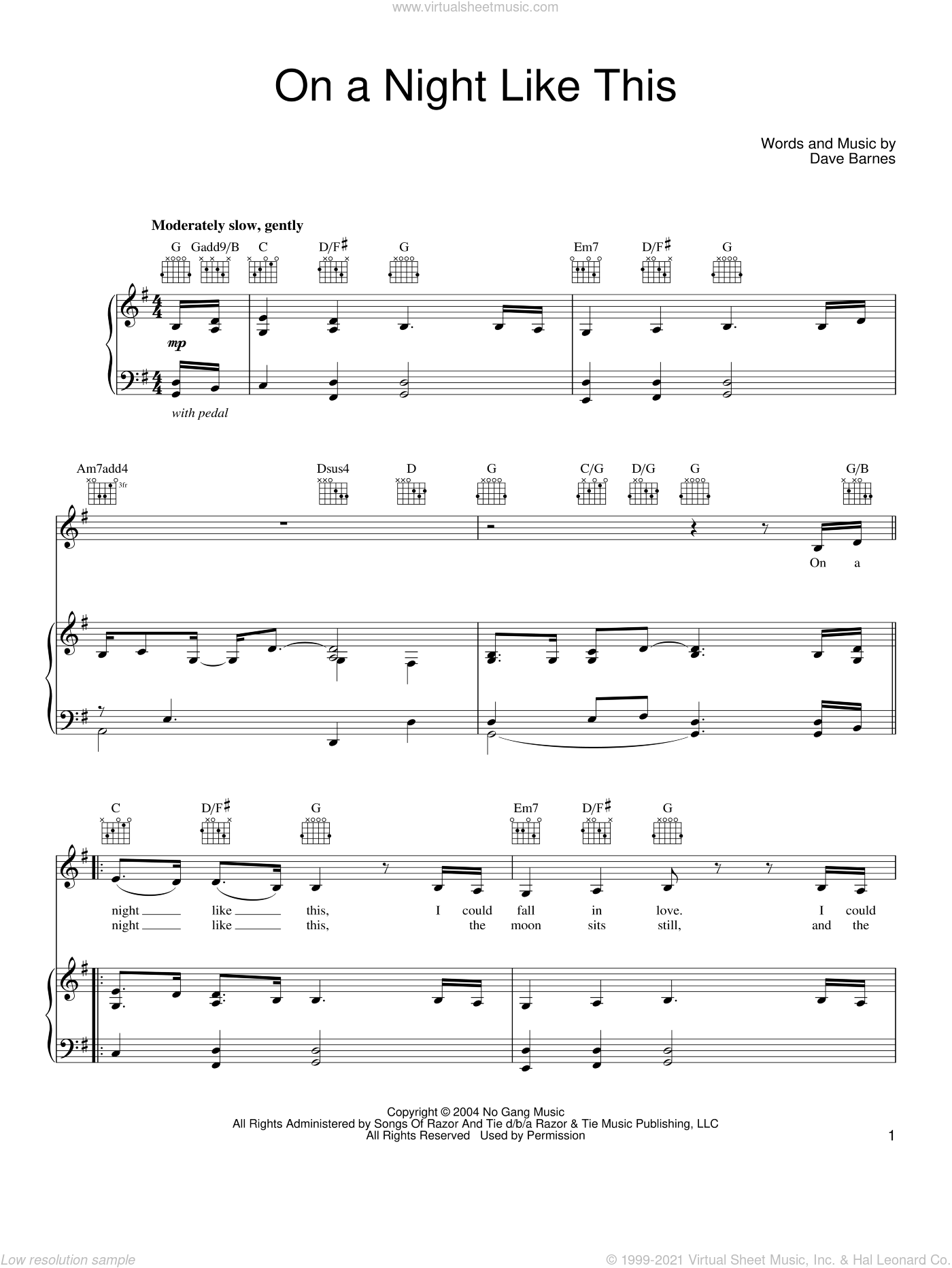 On A Night Like This sheet music for voice, piano or guitar by Dave Barnes, wedding score, intermediate skill level