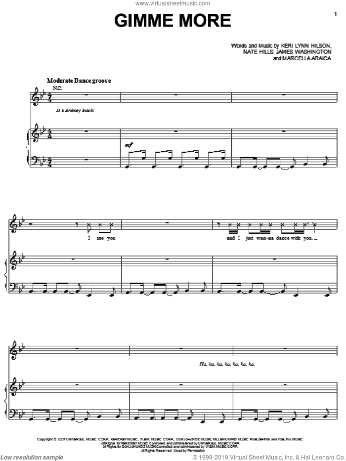 Gimme More sheet music for voice, piano or guitar by Britney Spears, James Washington and Nate Hills, intermediate voice, piano or guitar. Score Image Preview.