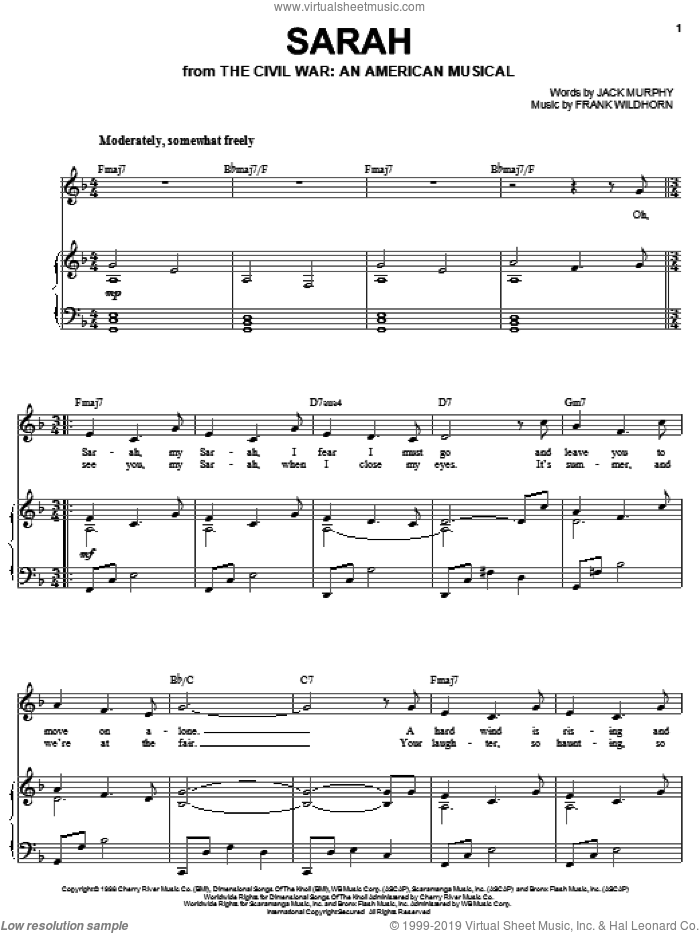Sarah sheet music for voice and piano by Joan Frey Boytim, Frank Wildhorn and Jack Murphy, intermediate skill level
