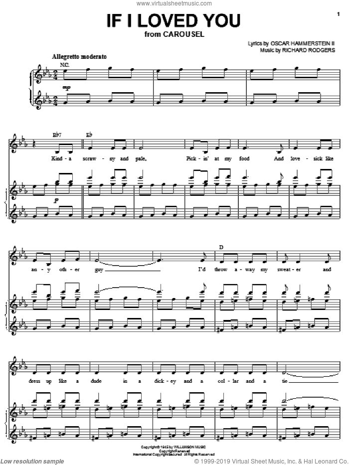 If I Loved You sheet music for voice and piano by Rodgers & Hammerstein, Carousel (Musical), Oscar II Hammerstein and Richard Rodgers, intermediate skill level