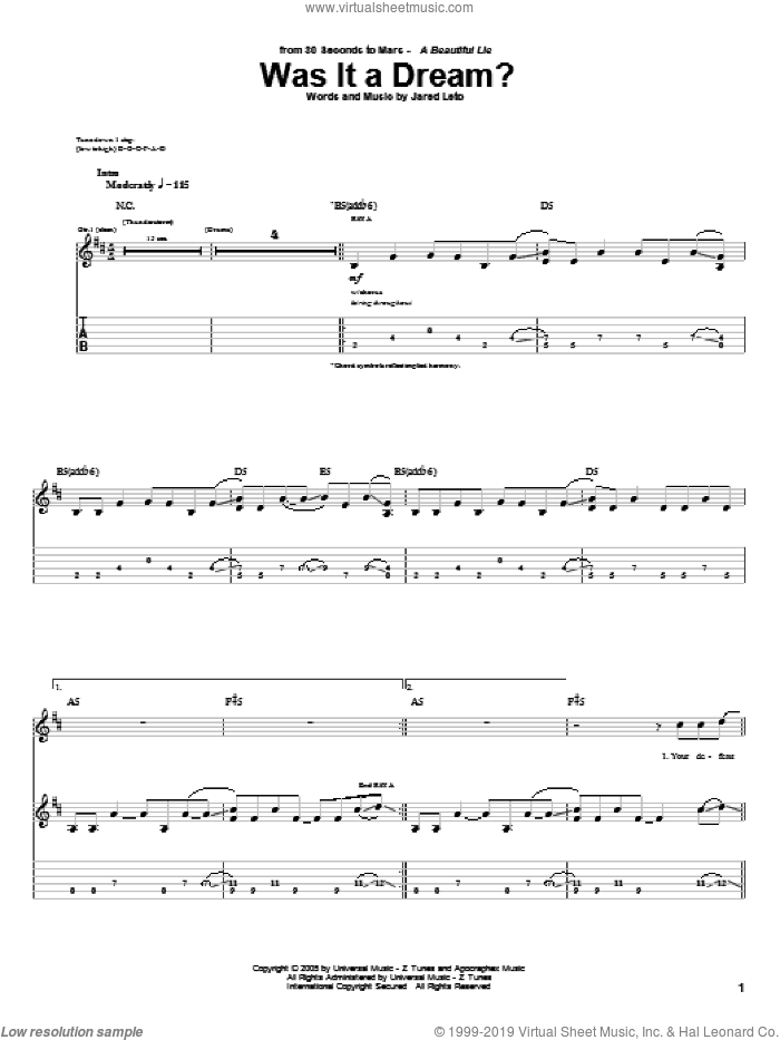 Was It A Dream? sheet music for guitar (tablature) by Jared Leto