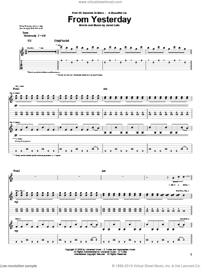 From Yesterday sheet music for guitar (tablature) by 30 Seconds To Mars and Jared Leto, intermediate. Score Image Preview.