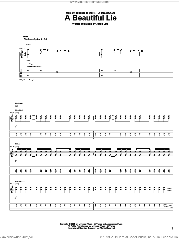 A Beautiful Lie sheet music for guitar (tablature) by Jared Leto. Score Image Preview.
