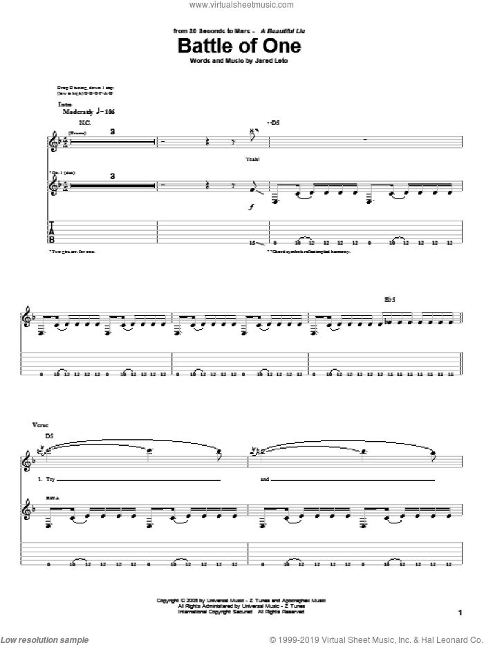 Battle Of One sheet music for guitar (tablature) by Jared Leto. Score Image Preview.