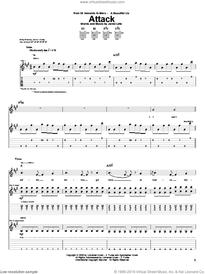 Attack sheet music for guitar (tablature) by Jared Leto. Score Image Preview.