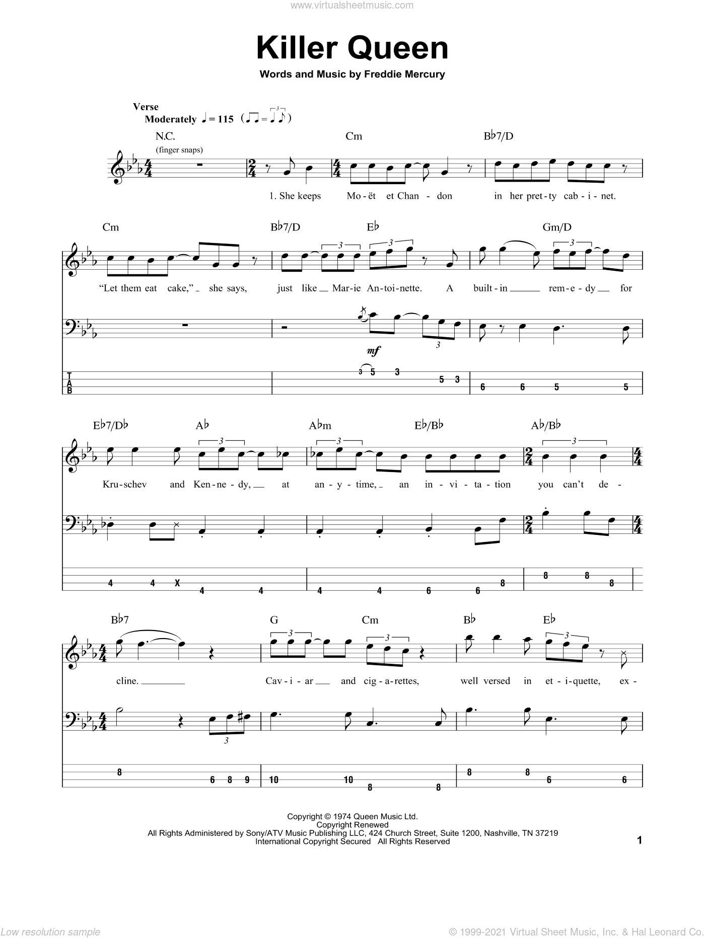 Killer Queen sheet music for bass (tablature) (bass guitar) by Queen and Freddie Mercury, intermediate skill level