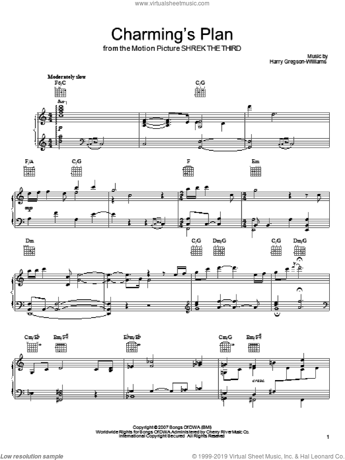 Charming's Plan sheet music for voice, piano or guitar by Harry Gregson-Williams and Shrek The Third (Movie), intermediate skill level