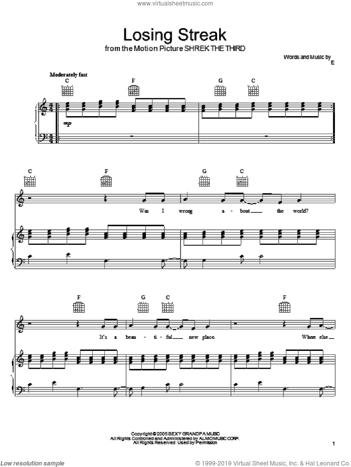 Losing Streak sheet music for voice, piano or guitar by Eels and Shrek The Third (Movie), intermediate. Score Image Preview.