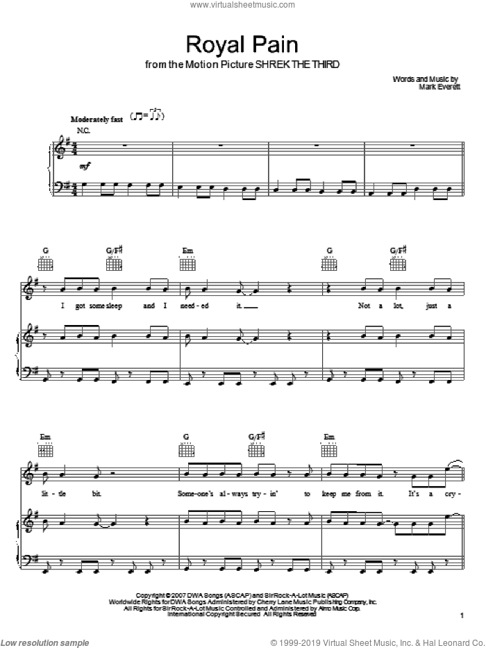 Royal Pain sheet music for voice, piano or guitar by Mark Everett and Eels. Score Image Preview.