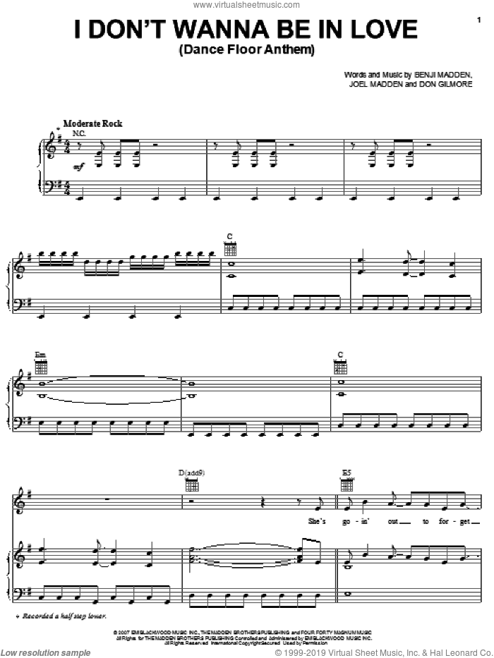 I Don't Wanna Be In Love (Dance Floor Anthem) sheet music for voice, piano or guitar by Good Charlotte, Benji Madden and Joel Madden, intermediate. Score Image Preview.