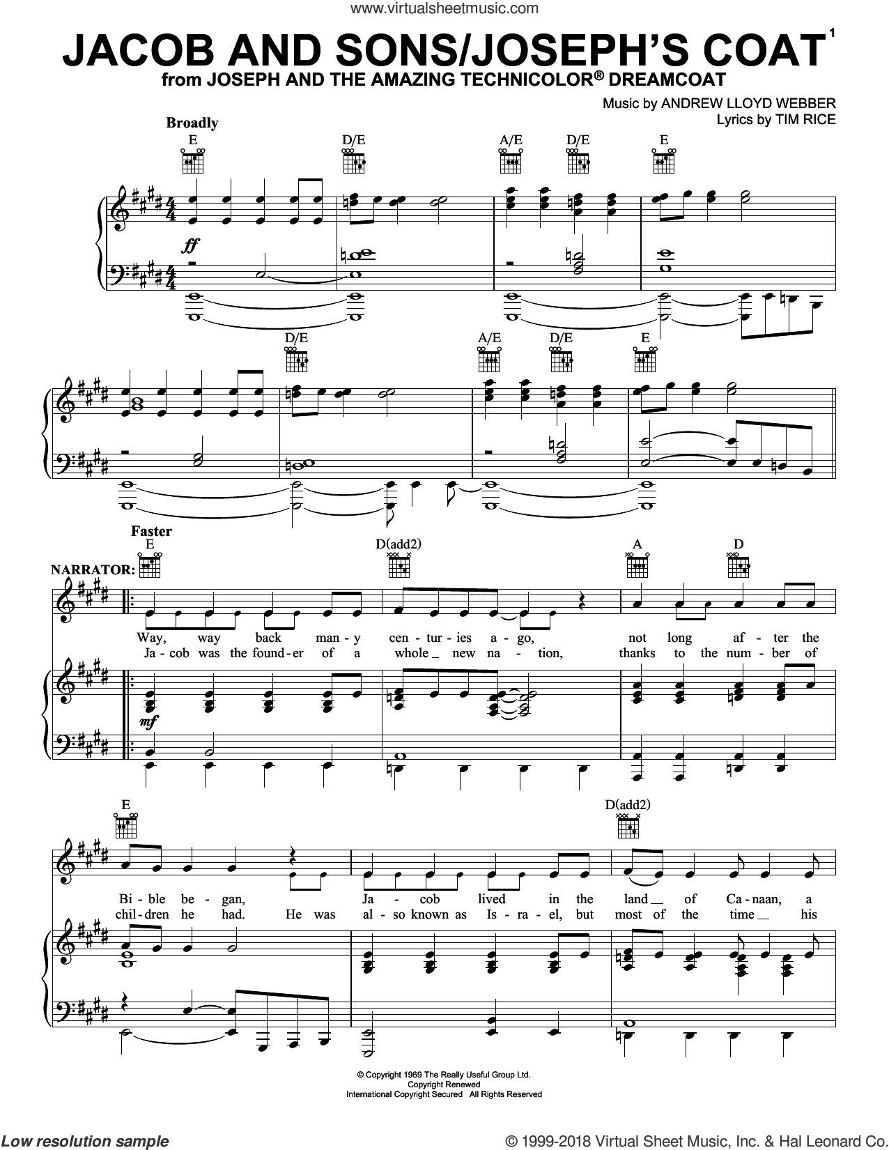 Jacob And Sons/Joseph's Coat sheet music for voice, piano or guitar by Andrew Lloyd Webber and Tim Rice, intermediate skill level