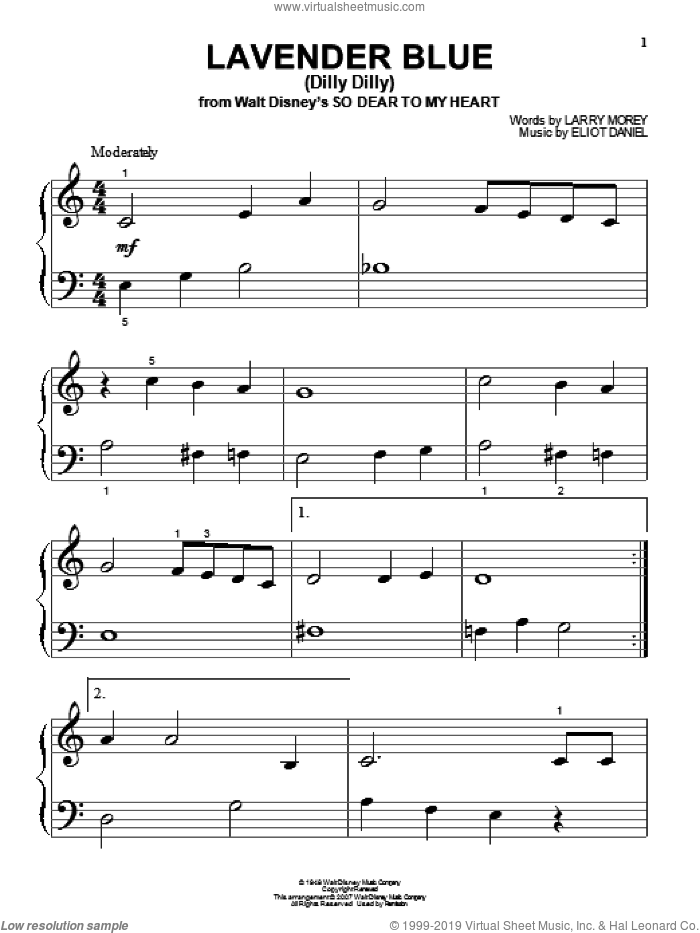 Lavender Blue (Dilly Dilly) sheet music for piano solo (big note book) by Burl Ives, Eliot Daniel and Larry Morey, easy piano (big note book)