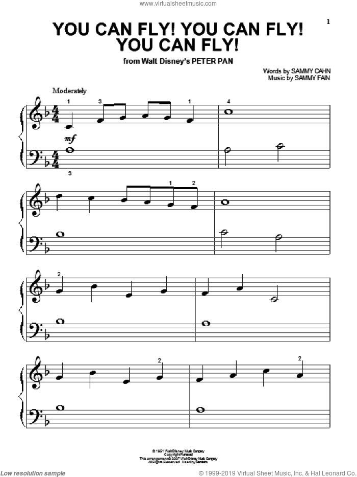 You Can Fly! You Can Fly! You Can Fly! sheet music for piano solo (big note book) by Sammy Fain