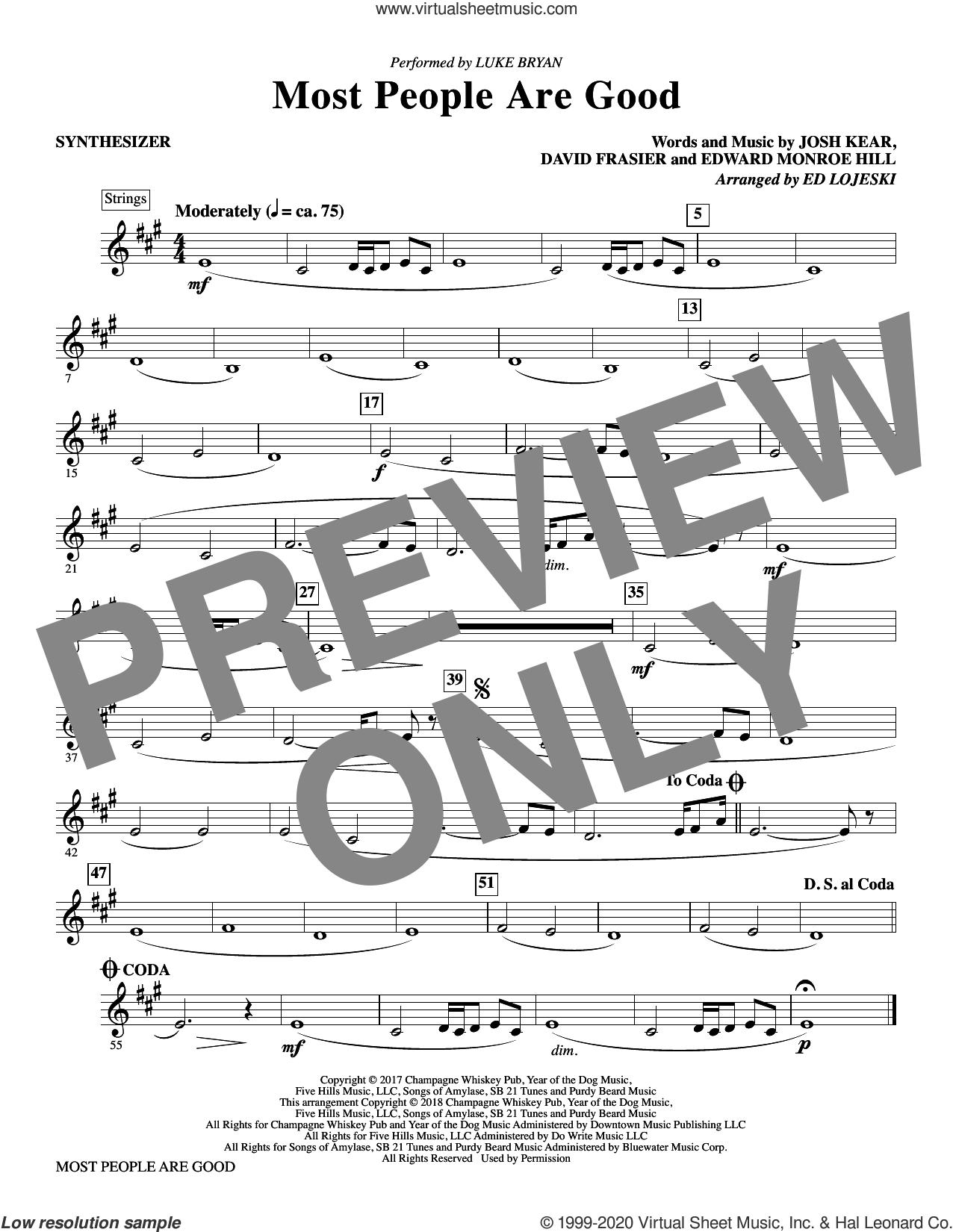 Most People Are Good  (arr. Ed Lojeski) sheet music for orchestra/band (synthesizer) by Luke Bryan, Ed Lojeski, David Frasier, Edward Monroe Hill and Josh Kear, intermediate skill level