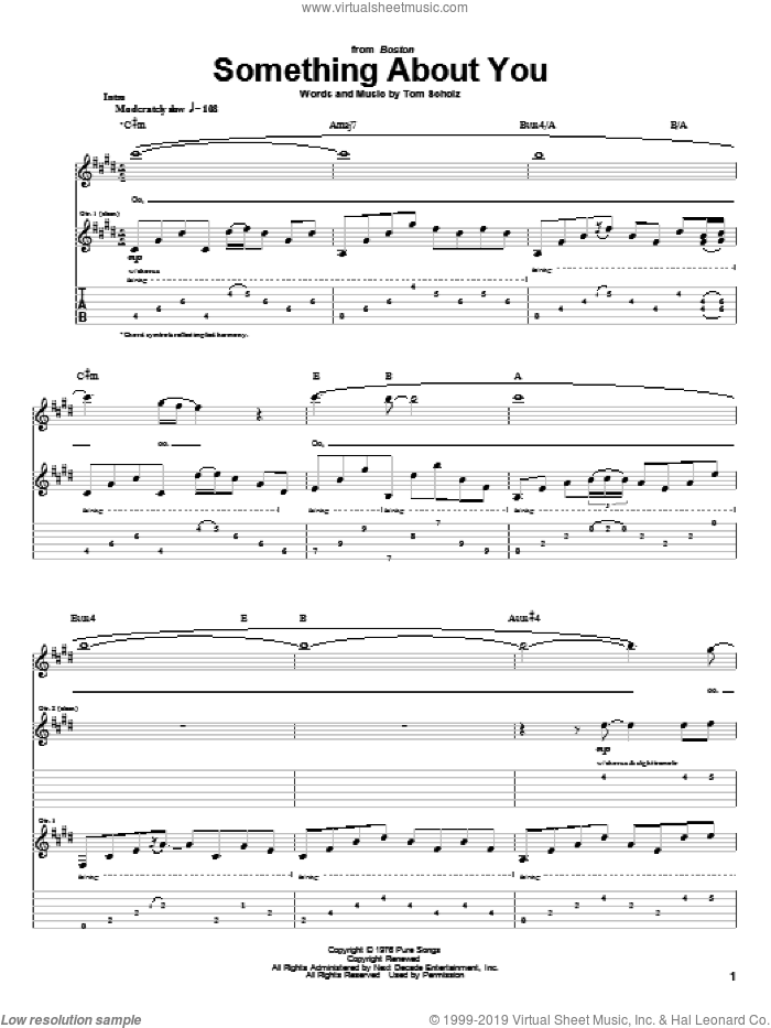 Something About You sheet music for guitar (tablature) by Boston and Tom Scholz, intermediate skill level