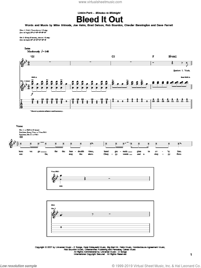 Bleed It Out sheet music for guitar (tablature) by Linkin Park, Brad Delson, Chester Bennington, Dave Farrell, Joe Hahn, Mike Shinoda and Rob Bourdon, intermediate skill level