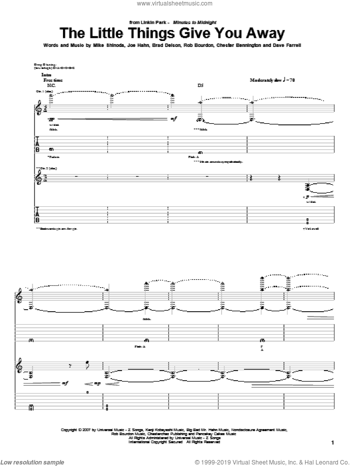 The Little Things Give You Away sheet music for guitar (tablature) by Linkin Park, intermediate guitar (tablature). Score Image Preview.