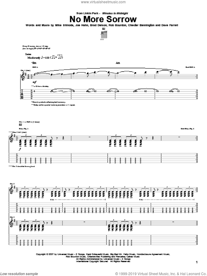 No More Sorrow sheet music for guitar (tablature) by Linkin Park. Score Image Preview.