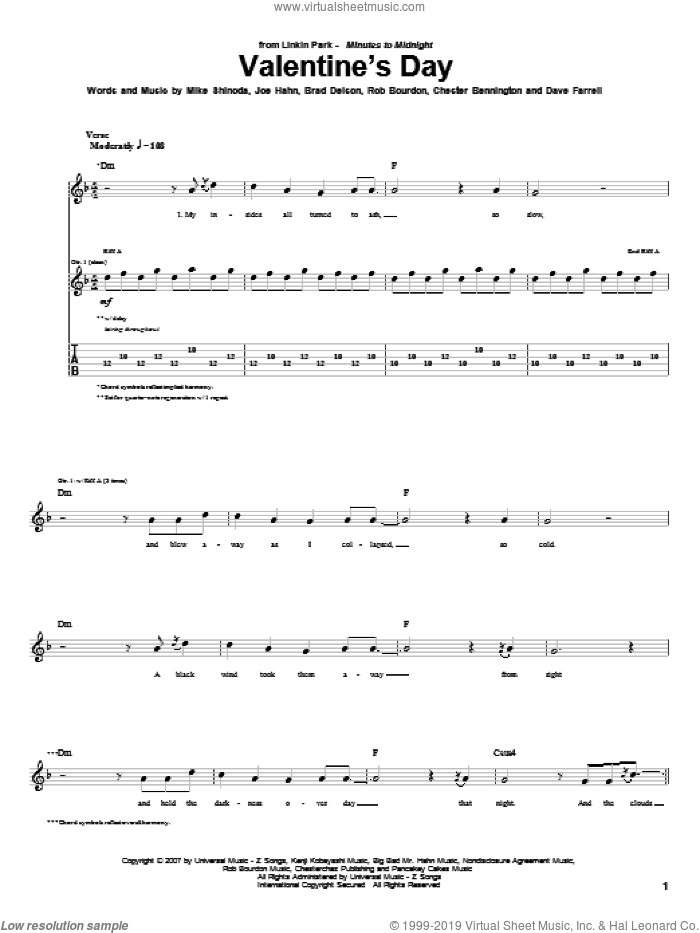 Valentine's Day sheet music for guitar (tablature) by Linkin Park, Brad Delson, Chester Bennington, Dave Farrell, Joe Hahn, Mike Shinoda and Rob Bourdon, intermediate skill level
