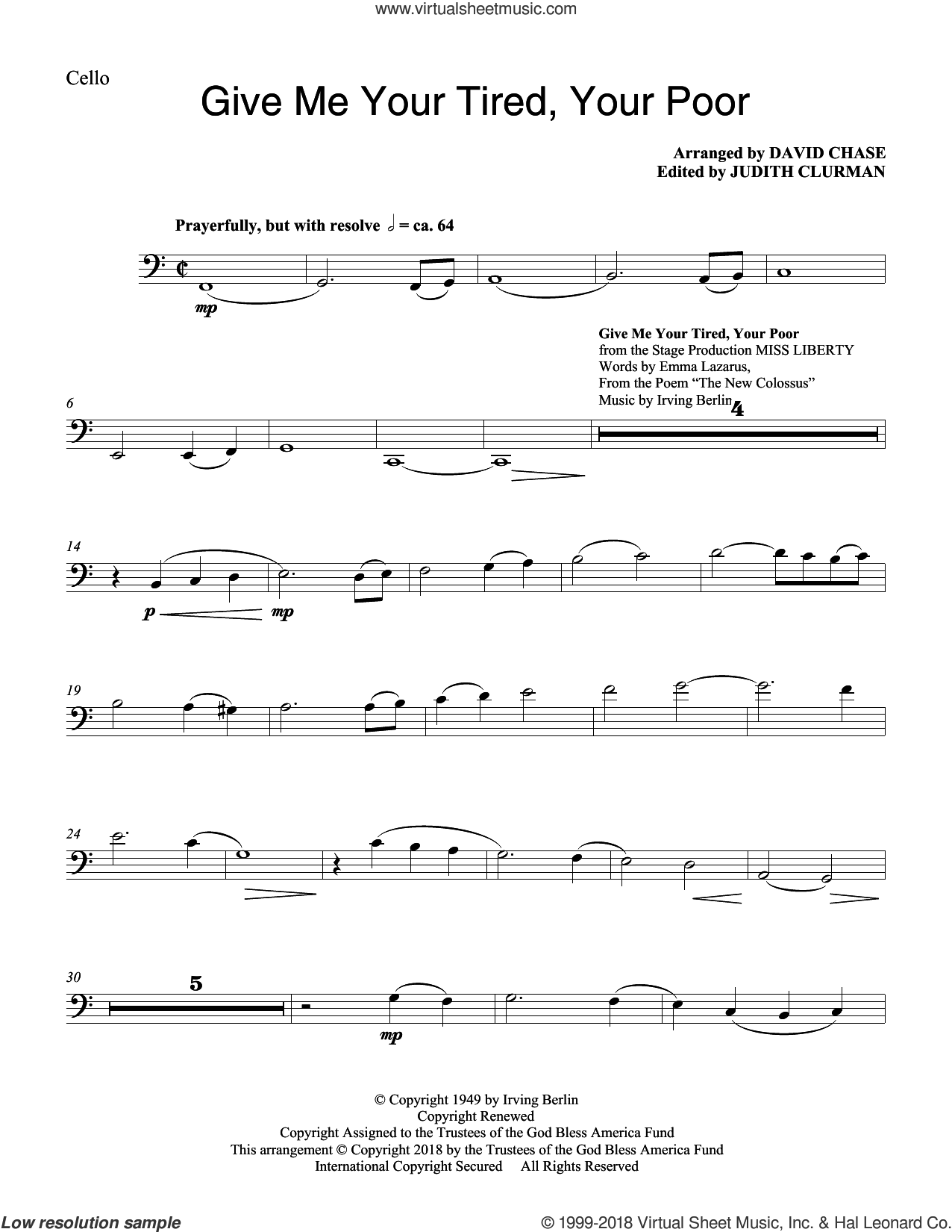 Give Me Your Tired, Your Poor (with 'God Bless America') (arr. David Chase) sheet music for orchestra/band (cello) by Irving Berlin, David Chase, Emma Lazarus and Emma Lazarus and Irving Berlin, intermediate skill level