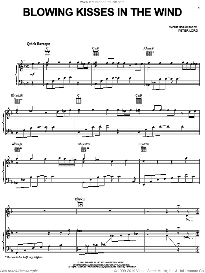 Blowing Kisses In The Wind sheet music for voice, piano or guitar by Paula Abdul and Peter Lord, intermediate skill level