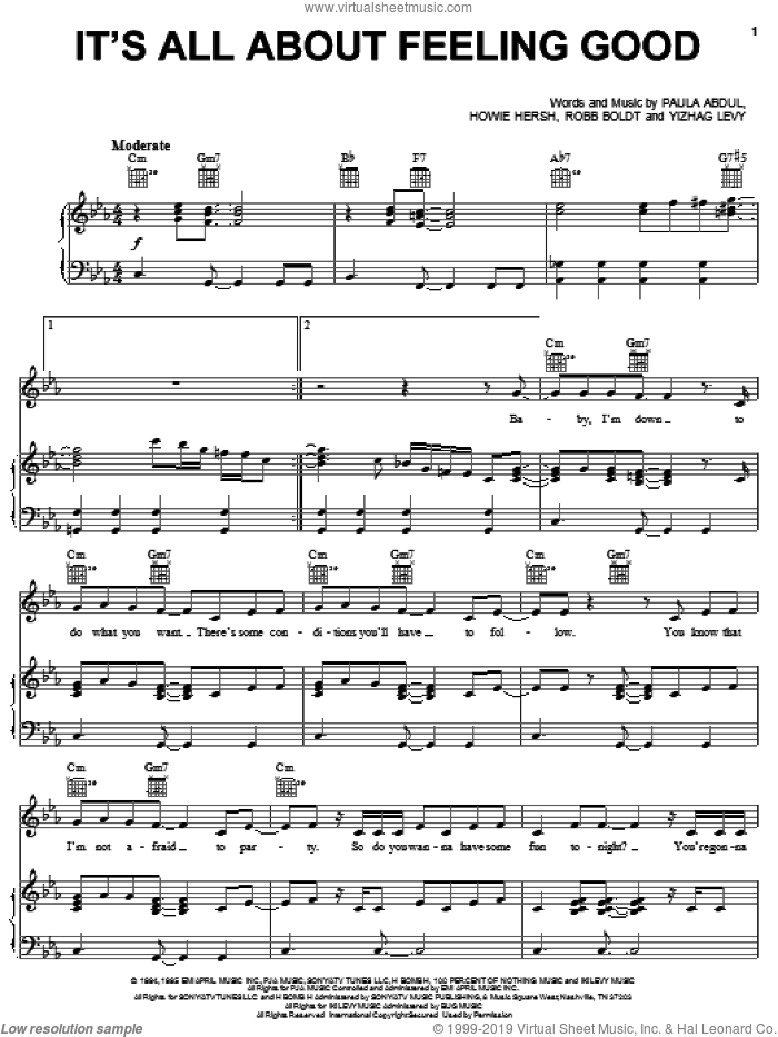 It's All About Feeling Good sheet music for voice, piano or guitar by Yizhag Levy and Paula Abdul. Score Image Preview.