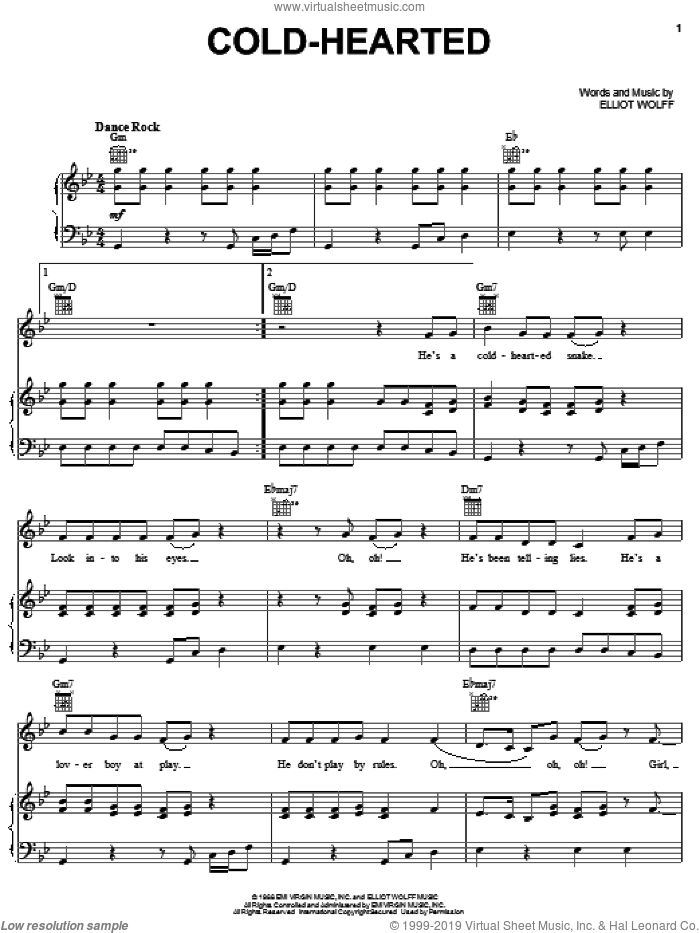 Cold-Hearted sheet music for voice, piano or guitar by Paula Abdul and Elliot Wolff, intermediate skill level