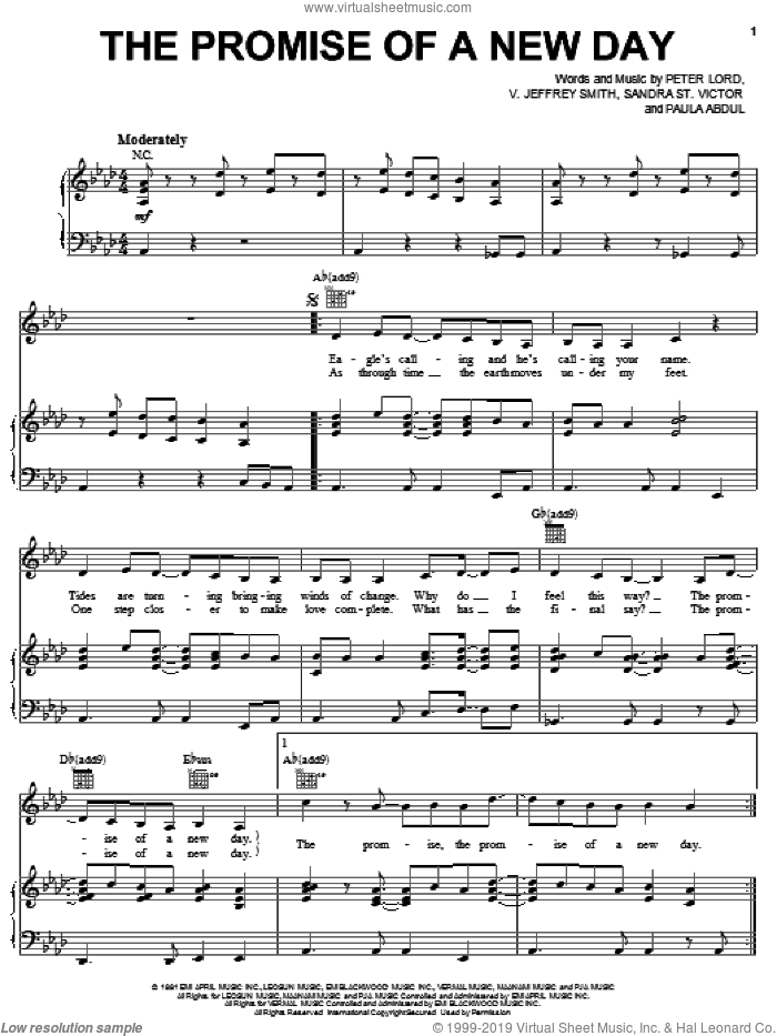 The Promise Of A New Day sheet music for voice, piano or guitar by Paula Abdul, Peter Lord, Sandra St. Victor and V. Jeffrey Smith, intermediate. Score Image Preview.
