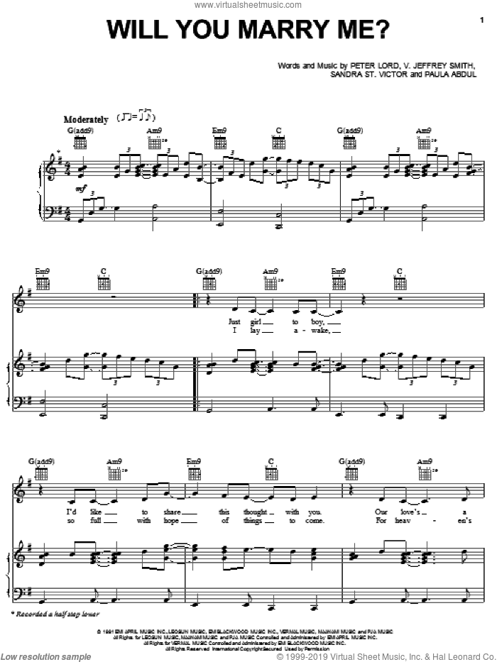 Will You Marry Me? sheet music for voice, piano or guitar by V. Jeffrey Smith