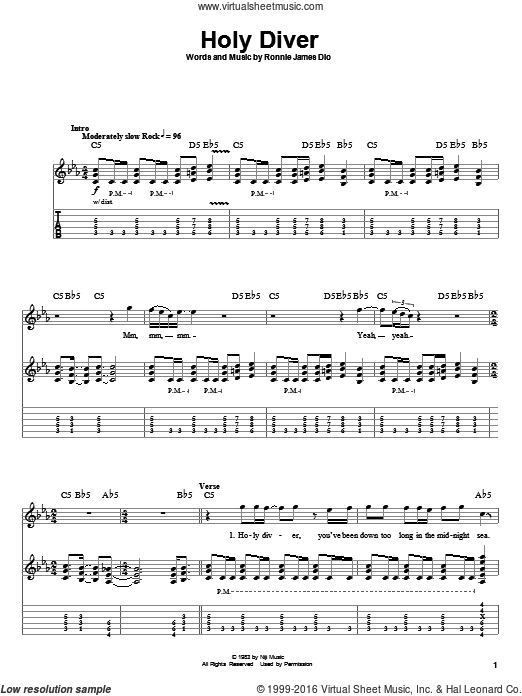 Holy Diver sheet music for guitar (tablature, play-along) by Ronnie James Dio