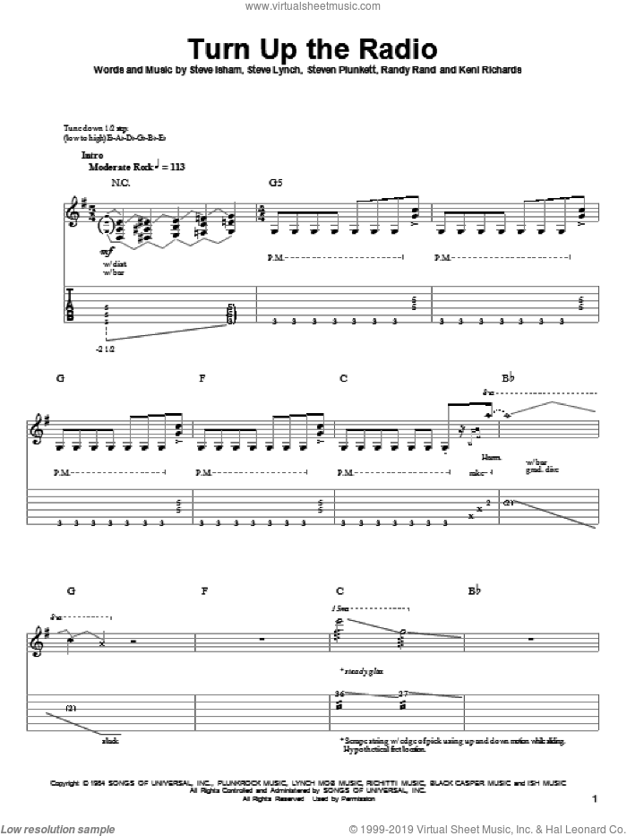 Turn Up The Radio sheet music for guitar (tablature, play-along) by Autograph, Keni Richards, Randy Rand, Steve Isham, Steve Lynch and Steven Plunkett, intermediate skill level