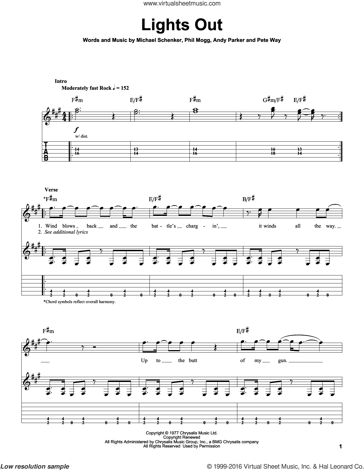 Lights Out sheet music for guitar (tablature, play-along) by UFO, Andy Parker, Michael Schenker, Pete Way and Phil Mogg, intermediate skill level