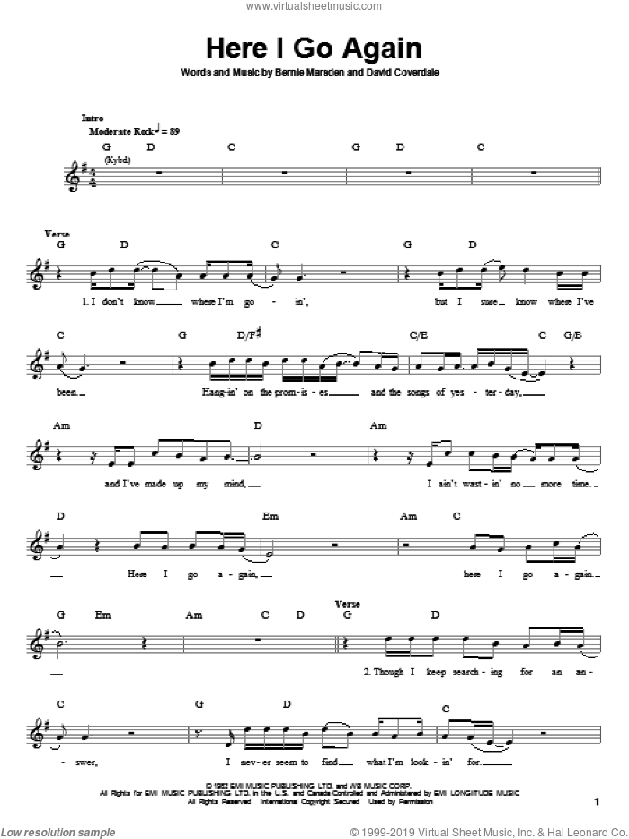 Here I Go Again sheet music for guitar (tablature, play-along) by Whitesnake, Bernie Marsden and David Coverdale, intermediate skill level