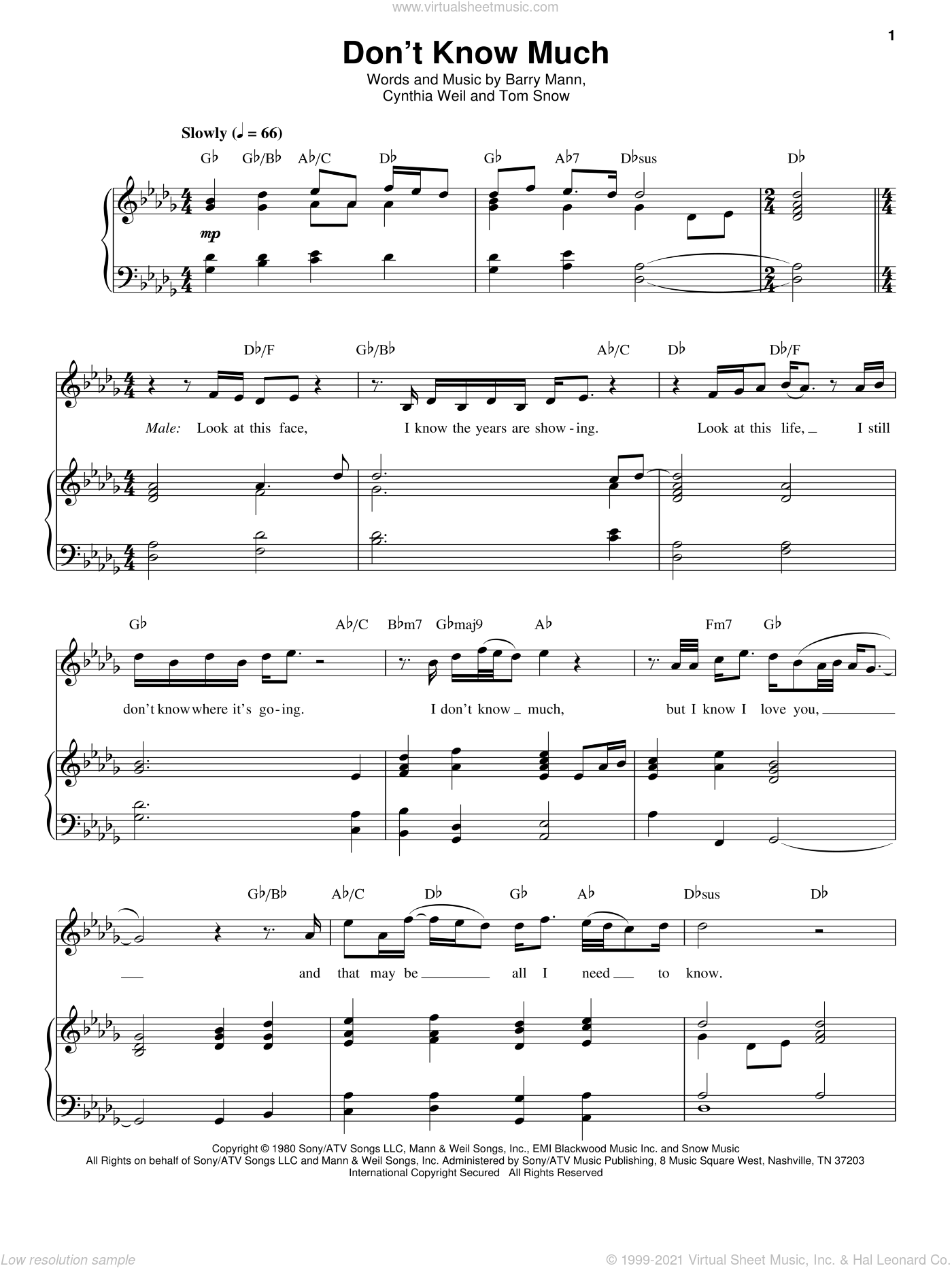 Don't Know Much sheet music for voice and piano by Aaron Neville and Linda Ronstadt, Aaron Neville, Linda Ronstadt, Linda Ronstadt and Aaron Neville, Barry Mann, Cynthia Weil and Tom Snow, wedding score, intermediate skill level