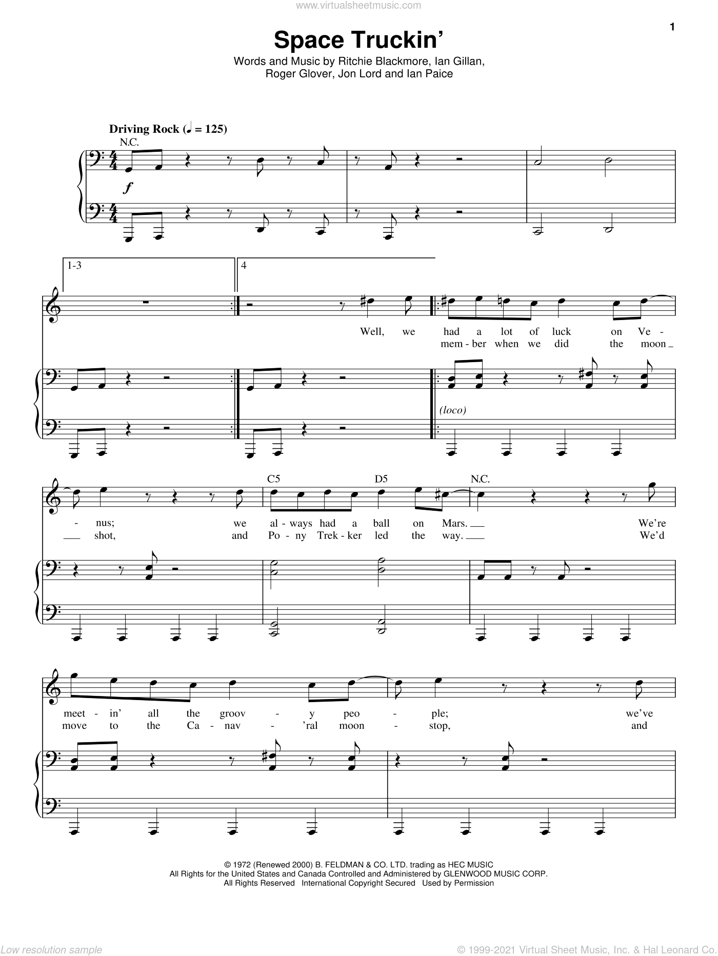 Space Truckin' sheet music for voice and piano by Deep Purple, Ian Gillan, Ian Paice, Jon Lord, Ritchie Blackmore and Roger Glover, intermediate. Score Image Preview.