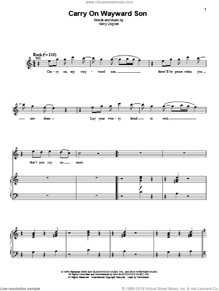 Carry On Wayward Son sheet music for voice and piano by Kerry Livgren and Kansas. Score Image Preview.