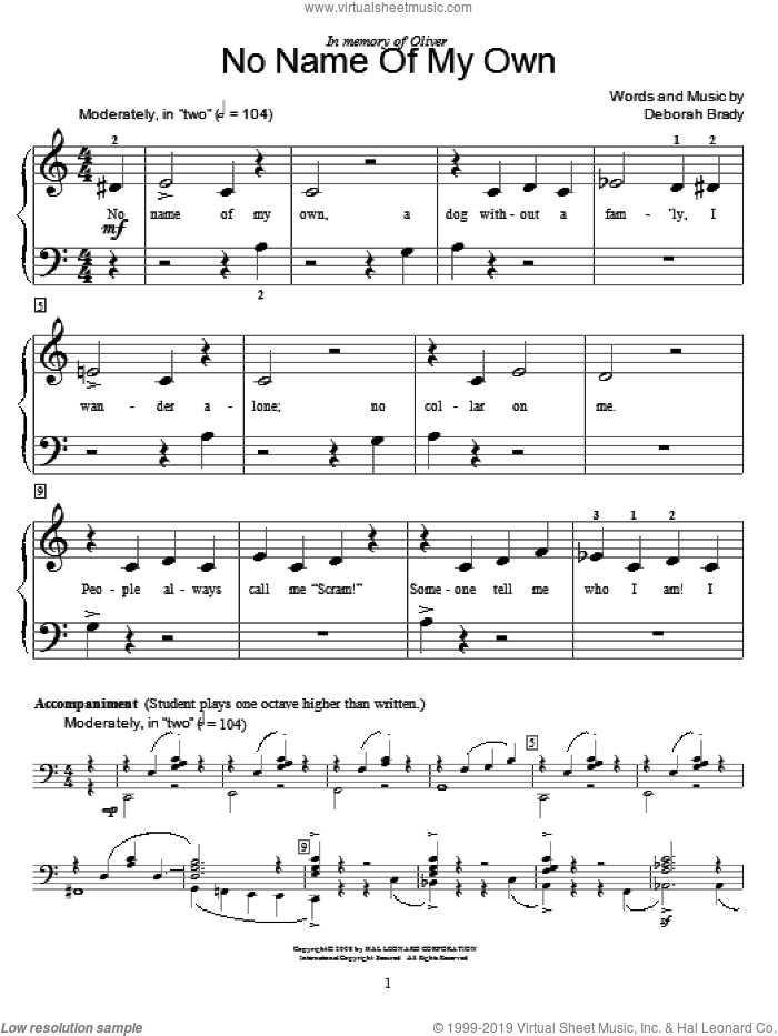 No Name Of My Own sheet music for piano solo (elementary) by Deborah Brady and Miscellaneous, beginner piano (elementary)