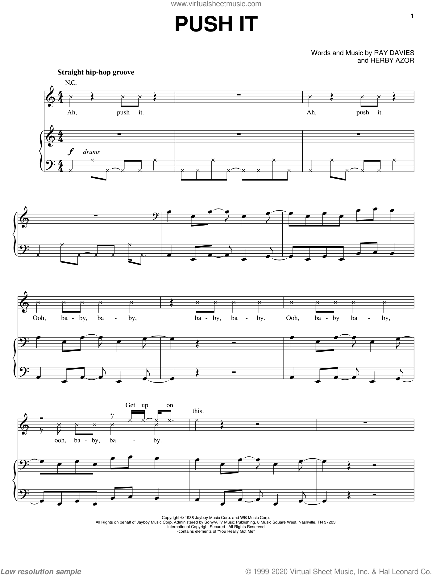 Push It sheet music for voice, piano or guitar by Ray Davies