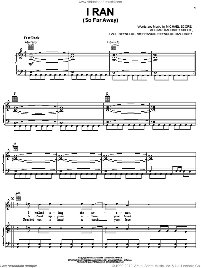 I Ran (So Far Away) sheet music for voice, piano or guitar by A Flock Of Seagulls, Alistar Maudsley Score, Francis Reynolds Maudsley, Michael Score and Paul Reynolds, intermediate skill level