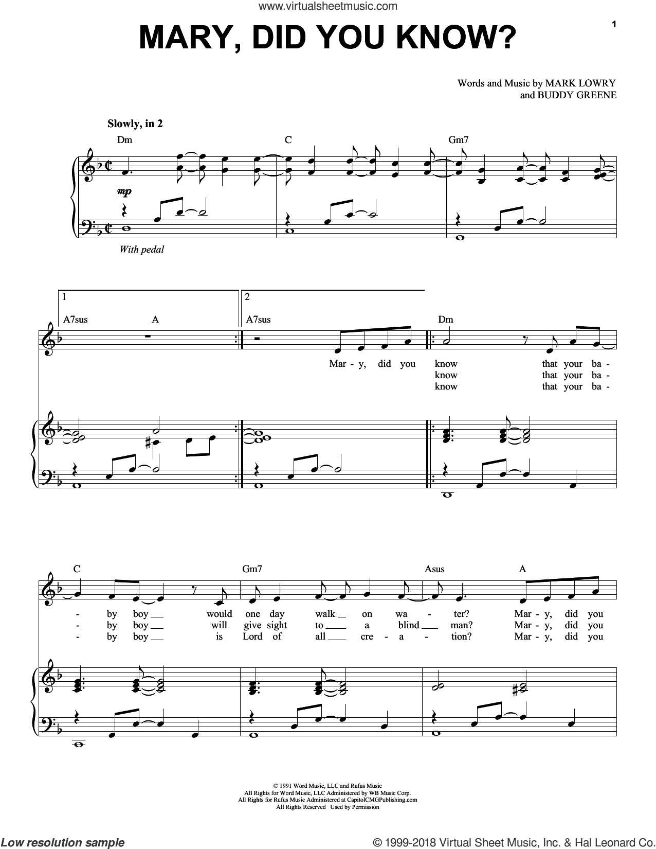 Mary, Did You Know? sheet music for voice and piano by Mark Lowry, Kathy Mattea and Buddy Greene, intermediate skill level