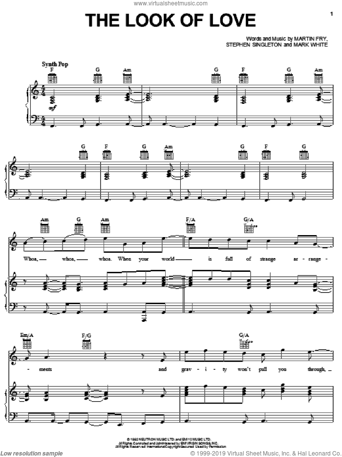 The Look Of Love sheet music for voice, piano or guitar by Stephen Singleton
