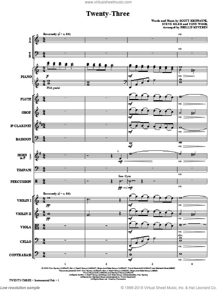 Twenty-Three (COMPLETE) sheet music for orchestra/band (chamber ensemble) by Tony Wood, Scott Krippayne, Steve Siler and Phillip Keveren, intermediate skill level