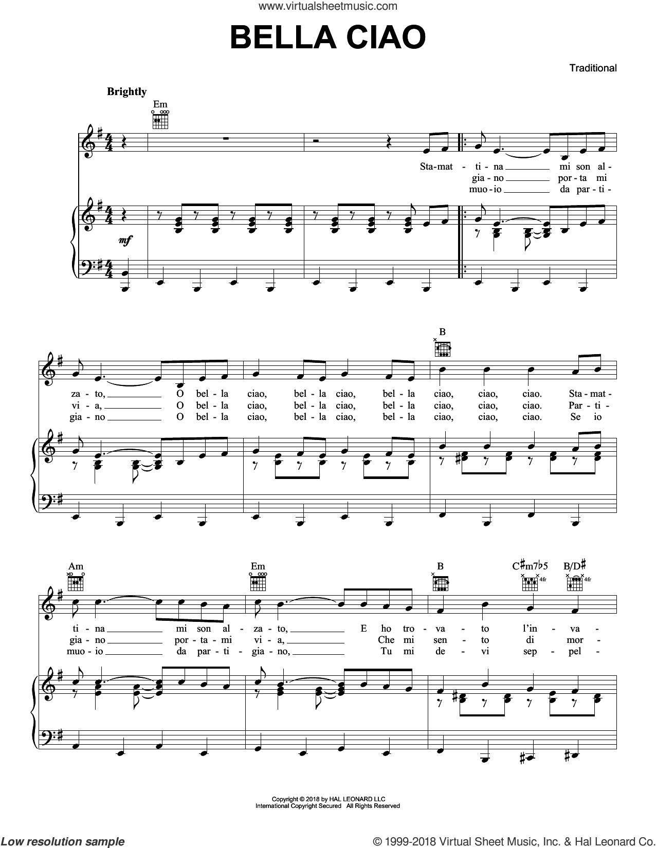 Bella Ciao sheet music for voice, piano or guitar, intermediate skill level