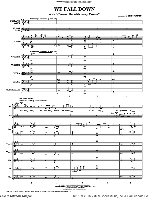 We Fall Down (with Crown Him With Many Crowns) (COMPLETE) sheet music for orchestra by John Purifoy and Chris Tomlin. Score Image Preview.