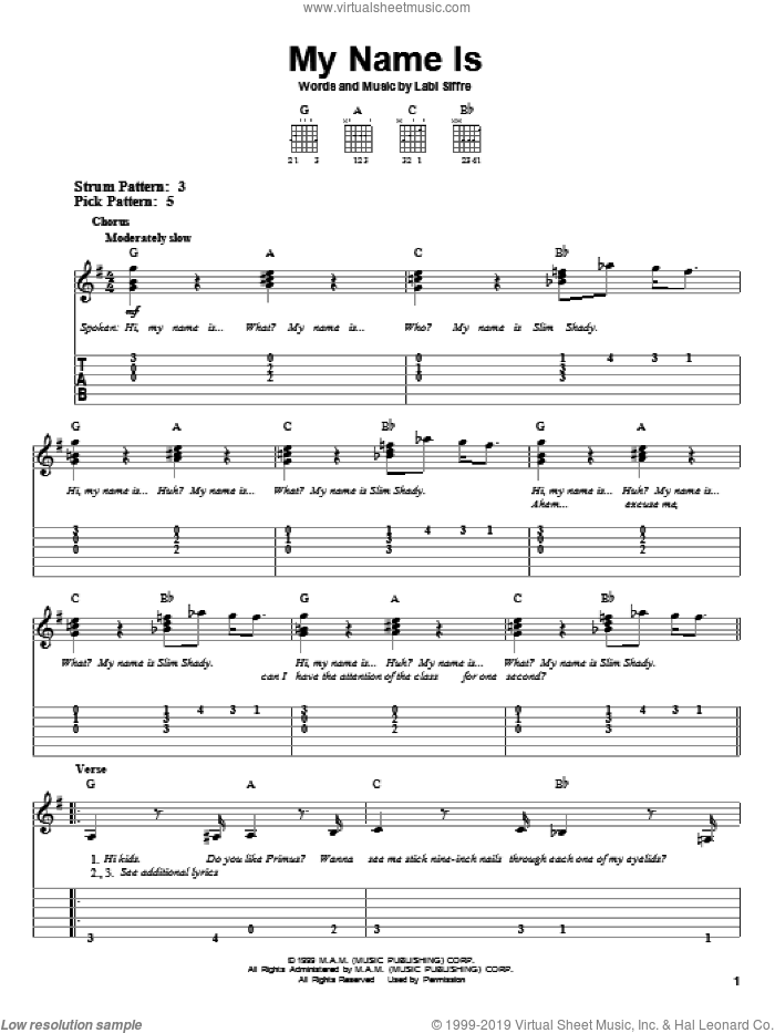 My Name Is sheet music for guitar solo (easy tablature) by Eminem and Labi Siffre, easy guitar (easy tablature)