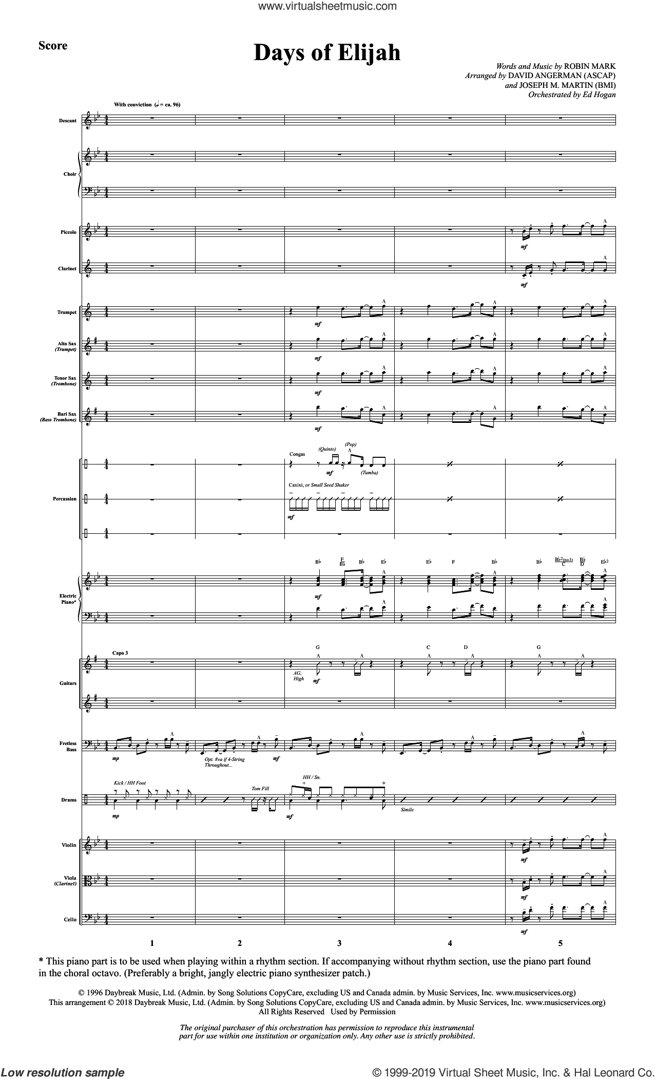 Days of Elijah (arr. David Angerman) (COMPLETE) sheet music for orchestra/band by David Angerman, Michael Barrett and Robin Mark, intermediate skill level
