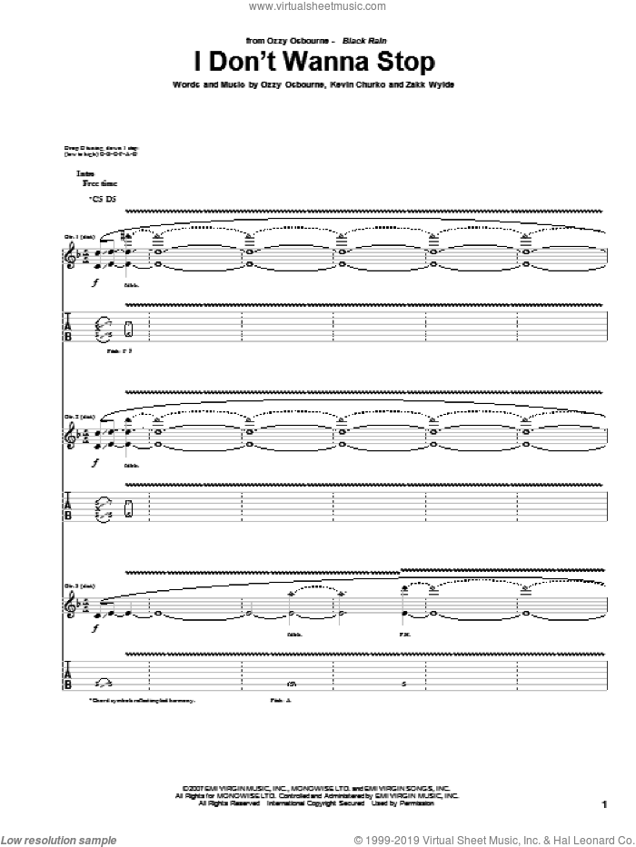 I Don't Wanna Stop sheet music for guitar (tablature) by Ozzy Osbourne, Kevin Churko and Zakk Wylde, intermediate skill level