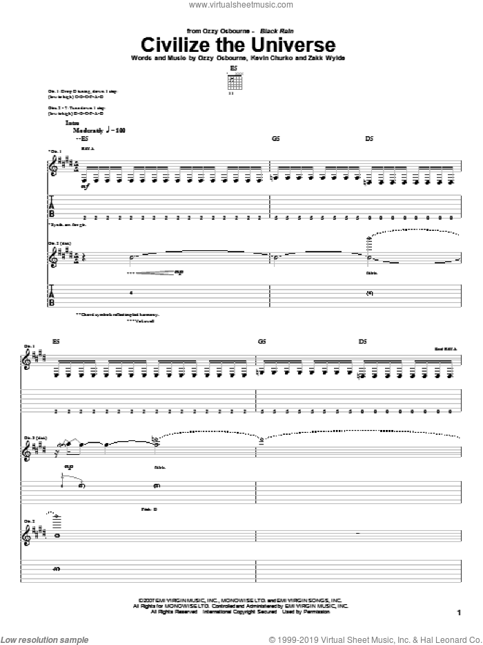 Civilize The Universe sheet music for guitar (tablature) by Zakk Wylde, Kevin Churko and Ozzy Osbourne. Score Image Preview.