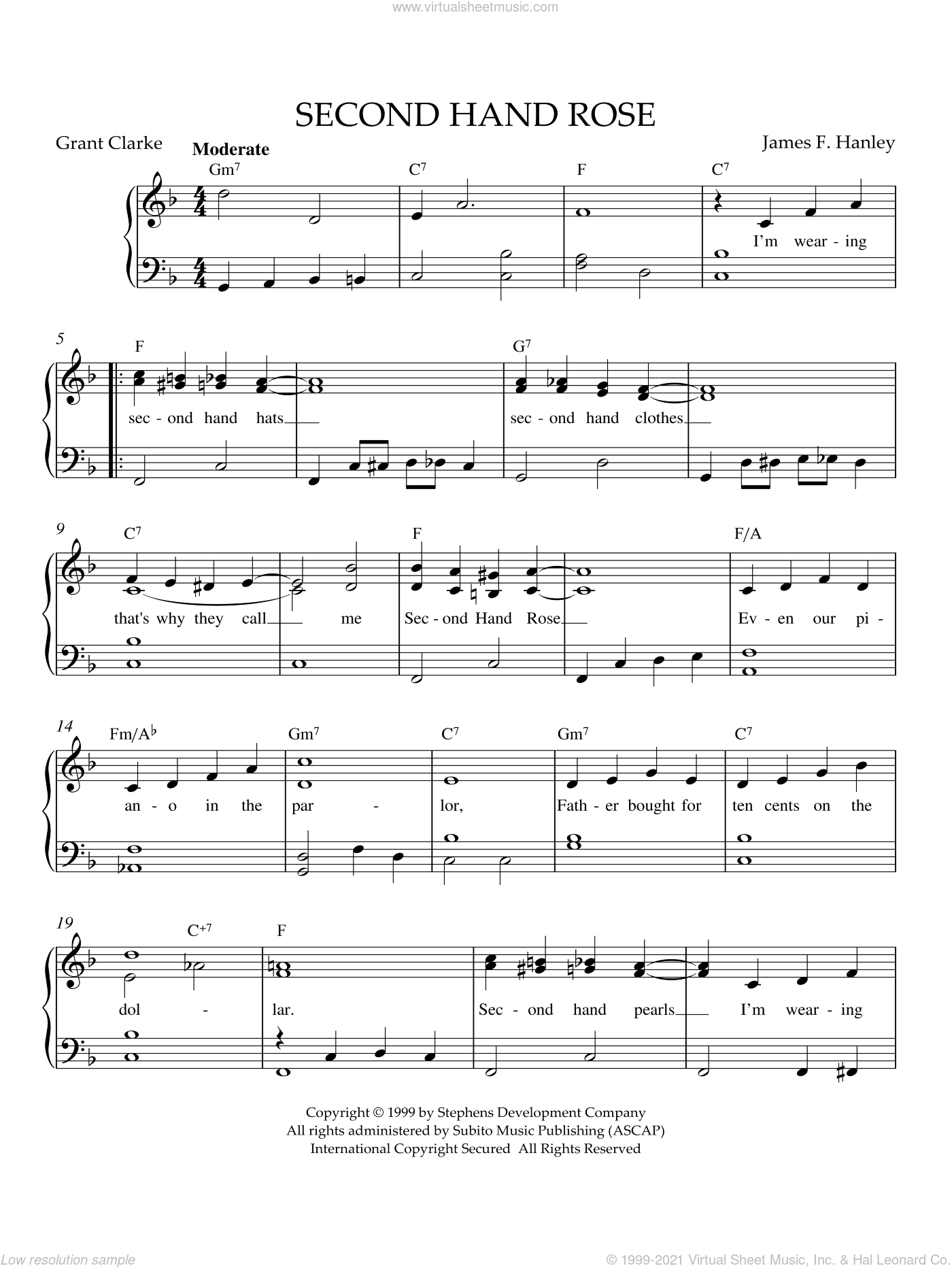 Second Hand Rose sheet music for piano solo by James Hanley. Score Image Preview.